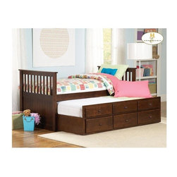 Homelegance - Mission Inspired Slatted Twin Bed and Trundle - Includes headboard, footboard, rails and trundle