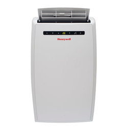 HONAC - 10,000 BTU Portable A/C - The Honeywell MN10CESWW 10,000 BTU Portable Air Conditioner has a sleek, modern design cooling and dehumidifying areas up to 350/400 square feet. With 3-in-1 technology, 3M electrostatic filter and an environmentally friendly compressor, this portable air conditioner delivers optimum cooling and dehumidification. It also has a fan-only function. The full-function remote control allows you to operate each feature from across the room. Unlike a fixed AC, this unit requires no permanent installation and four caster wheels provide easy mobility between areas. Plus, the auto-evaporation system allows for hours of continuous operation with no water to drain or no bucket to empty. This model comes with everything needed including a flexible exhaust hose and an easy-to-install window venting kit. The window vent can be removed when the unit is not in use.10,000 BTU portable air conditioner cools areas up to 350/400 sq. ft.|No bucket, no-drip design uses auto-evaporation system|Dehumidification up to 68 pints per 24 hours|Digital LCD display with feather touch controls|Full function remote control|Automatic shutoff timer from 1-24 hours|Powerful air flow (174 cfm)|Quiet operation (50 dbA)|Washable, pull-up 3M electrostatic filter (back access)|Caster wheels easily rolls unit from room to room|  honeywell| mn| series| mn10ces| mn10cesww| cooling| portable| no| bucket| air| conditioner| ac| a/c| with| remote| control| eco-friendly| eco| friendl  Package Contents: air conditioner|remote control|flexible exhaust hose|window venting kit|manual|warranty  This item cannot be shipped to APO/FPO addresses