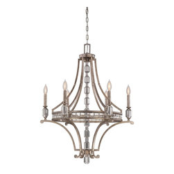 Savoy House - Filament Rim Chandelier - Filament Rim Chandelier has a Silver Dust finish with crystal accents. Six 60 watt, 120 volt B10 type Candelabra base incandescent bulbs are required, but not included. UL listed.  28 inch width x 35.5 inch height.