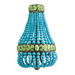 Turquoise Beaded Hollywood Regency Glamorous Blue Sconce - The bold hues of this turquoise and jade wall sconce can be used to define your room, or can hold their own against a colorful sofa or rug. Hand-beaded strings of glass meet to form a basket shape, adding three-dimensional interest to your Hollywood Regency décor.