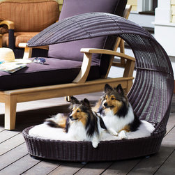 Outdoor Dog Chaise Lounger - Enjoy your time in the sun while your dog relaxes in the shade. The Outdoor Dog Chaise Lounger is a stylish dog bed that perfect for any deck or poolside patio.