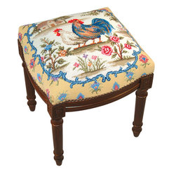 Rooster Needlepoint on Dark Wood Footstool - Great for traditional, French Country, shabby chic or almost any decor. These are small so they are great for tight spaces.