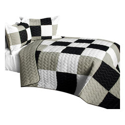 Blancho Bedding - City Light - B Cotton Vermicelli-Quilted Patchwork Plaid Quilt Set-Queen - The [City Light - B] Cotton Vermicelli-Quilted Patchwork Plaid Quilt Set-Queen includes a quilt and two quilted shams. This pretty quilt set is handmade and some quilting may be slightly curved. The pretty handmade quilt set make a stunning and warm gift for you and a loved one! For convenience, all bedding components are machine washable on cold in the gentle cycle and can be dried on low heat and will last for years. Intricate vermicelli quilting provides a rich surface texture. This vermicelli-quilted quilt set will refresh your bedroom decor instantly, create a cozy and inviting atmosphere and is sure to transform the look of your bedroom or guest room. (Dimensions: Full/Queen quilt: 90.5 inches x 90.5 inches; Standard sham: 24 inches x 33.8 inches)