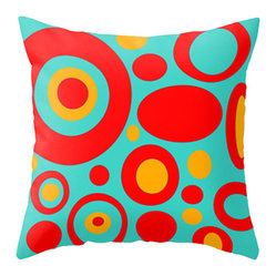 Crash Pad Designs - Crash Pad Designs Throw Pillow - Dale - Bring sheer joy to your decor with this playful, retro-inspired pillow. The brilliant mod pattern is printed on both sides of this 100 percent spun polyester poplin fabric pillow. This machine washable pillow features a hidden zipper closure a polyester fill insert, for extra cushioning on your sofa or armchair.