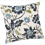 "Annabelle Vine Floral Embroidered Pillow Cover, 24"" sq., Cool - A gorgeous mix of florals is hand embroidered in a two-tone palette on our pillow cover. On its own or coordinated with solids in similar hues, it makes an impression on a chair or sofa. 24"" square Made of pure cotton. Yarn dyed for vibrant, lasting color. Reverses to solid ivory. Button closure. Insert sold separately; down blend or synthetic. Machine wash. Imported."