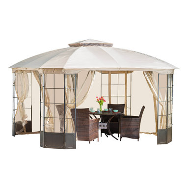 Somerset Outdoor Steel Gazebo Canopy w/ Tan Cover - The Manchester Gazebo adds a luxurious touch to any outdoor living area. The polyester covering offers the perfect shade solution while maintaining a clean and sophisticated look. The steel frame holds an intricate yet open pattern that compliments the overarching feel of the gazebo. The Manchester Gazebo is a perfect setting over outdoor spas, or can be used as a focal point in your backyard or garden.