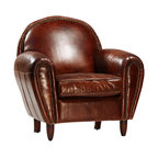 Derby Chair, Brown - The Derby chair is a wonderful accent chair for your library or traditional living space. The rounded chair back and arms are accented with antique brass nailhead trim over the gorgeous hand finished, top grain leather upholstery. For durability and comfort, this chair features hardwood frames and a seat cushion with a foam core with a feather/Dacron wrap. Perfect for late nights by the fire or early mornings with a great cup of coffee, this chair is sure to become a fast favorite.