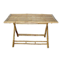 Bamboo54 - Large Bamboo Table - If you are looking for a table that's strong, durable and comes with an added unique flair to its design, look no further with this Large Bamboo Table. This folding table is sure to make a perfect addition to any tropical patio. Its 53 in.  long rectangle shape makes it suitable to seat a handful of family members and friends around its corners. The lines are clean and simple, putting the emphasis on the natural textural appeal and color of the bamboo. It also has a convenient folding design, making it easy to transport and store if desired. A great centerpiece to start your outdoor furniture collection!
