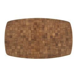 Bamboo Chop Block - Large - Chop everything you need for a meal on this large chop block.  Crafted out of organic bamboo, this chef's block is meant for both professional and home culinary artists alike. It also doubles as an attractive serving platter for the table.