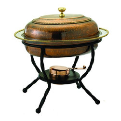 Old Dutch International - Oval Antique Chafing Dish - Includes wrought iron stand. Copper plated. Made from steel. 16.50 in. L x 12.50 in. W x 18 in. H (17 lbs.)6 Qt. oval antique copper chafing dish.  6 Qt. Stainless steel food pan is oven safe to 350F, water-bath design keeps food at the perfect serving temperature without drying out. Chafing dish features brass knob and accented rim.