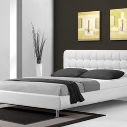 """DG Casa - Hollywood Platform Bed - Features: -Color: White. -Fully upholstered in durable and easy to maintain synthetic leather. -Includes slat support system. -Platform bed - no box spring required. -Slat height is 8 inches. -Side rail height is 13 inches. Dimensions: -Queen: 38"""" H x 63"""" W x 86"""" D, 125 lbs.. -King: 38"""" H x 79"""" W x 86"""" D, 146 lbs.."""