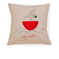 Jacaranda Living - Living Life Tooth Fairy Pillow, Sailboat, Natural Linen - A fun, whimsical pillow to brighten up your bed or your child's bed. Sweet dreams are guaranteed with the Tooth Fairy watching over you. This pillow is handmade and embroidered by a group of women living on a farm in South Africa.