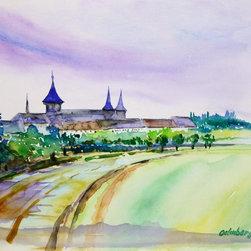 Oelenberg Abbey Watercolor Painting - Prismatic original watercolor painting of the Oelenberg Abbey in Eastern France, 2013.