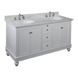 Kitchen Bath Collection - Bella 60-in Double Sink Bath Vanity (White/White) - This bathroom vanity set by Kitchen Bath Collection includes a white cabinet, soft close drawers, self-closing door hinges, white marble countertop, double undermount ceramic sinks, pop-up drains, and P-traps. Order now and we will include the pictured three-hole faucets and a matching backsplash as a free gift! All vanities come fully assembled by the manufacturer, with countertop & sink pre-installed.