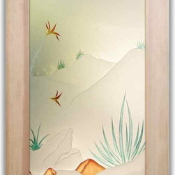 """Interior Glass Doors - Desert in Bloom 3D in Color - CUSTOMIZE YOUR INTERIOR GLASS DOOR!  Interior glass doors or glass door inserts.  .Block the view, but brighten the look with a beautiful interior glass door featuring a custom frosted glass design by Sans Soucie!  ship for just $99 to most states, $159 to some East coast regions, custom packed and fully insured with a 1-4 day transit time.  Available any size, as interior door glass insert only or pre-installed in an interior door frame, with 8 wood types available.  ETA will vary 3-8 weeks depending on glass & door type........  Select from dozens of sandblast etched obscure glass designs!  Sans Soucie creates their interior glass door designs thru sandblasting the glass in different ways which create not only different levels of privacy, but different levels in price.  Bathroom doors, laundry room doors and glass pantry doors with frosted glass designs by Sans Soucie become the conversation piece of any room.   Choose from the highest quality and largest selection of frosted decorative glass interior doors available anywhere!   The """"same design, done different"""" - with no limit to design, there's something for every decor, regardless of style.  Inside our fun, easy to use online Glass and Door Designer at sanssoucie.com, you'll get instant pricing on everything as YOU customize your door and the glass, just the way YOU want it, to compliment and coordinate with your decor.   When you're all finished designing, you can place your order right there online!  Glass and doors ship worldwide, custom packed in-house, fully insured via UPS Freight.   Glass is sandblast frosted or etched and bathroom door designs are available in 3 effects:   Solid frost, 2D surface etched or 3D carved. Visit our site to learn more!"""