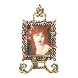 Jay Strongwater - Jay Strongwater Reuben Small Easel Frame - Jay Strongwater Reuben Small Easel Frame  -  Size: 2 inches wide x 5.5 inches tall  -  Color: Jewel  -  Hand-Painted Enamel Over Metal  -  Hand-Set With Swarovski Crystals  -  Made In U.S.A. by Jay Strongwater Creations  -  Jay Strongwater Item Number: SPF5746 450
