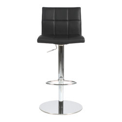 Eurostyle - Cyd Bar/Counter Stool-Black/Chrome - The backrest's block pattern of this adjustable stool is so attractive, why wouldn't you duplicate it on the seating area? The clean design of the chair is only accentuated by the gleaming column, footrest and base.