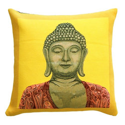 Pillow Decor Ltd. - Pillow Decor - Buddha in Yellow French Tapestry Throw Pillow - Who said serenity can't be ultravibrant? If your bliss comes in electric hues, you will appreciate this dazzling accent pillow. Contrasting a Buddha image with a saturated two-tone background, this French tapestry pillow is a study in contrasts. Use it as a pop of color on a white sofa or a fun addition to your meditation room.