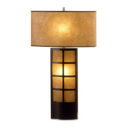 Nova Lighting - Nova Lighting Ventana Transitional Table Lamp X-TD2740 - A gridded window pane design on the base is paired with an accent light for a charmed appearance to this Nova Lighting table lamp. From the Ventana Collection, this transitional table lamp is finished in a blend of Dark Brown tones and beautiful elephantine parchment.