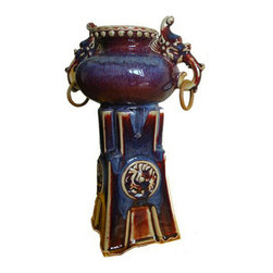 The Crabby Nook - Noble Pot Fine Asian Antiques Style Chun Porcelain Vase - All of our chun vases are described as red agate in color.