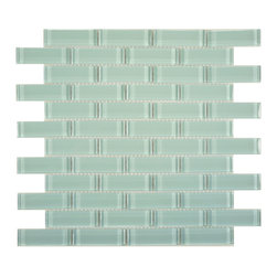 "Euro Glass - Morning Mist  1"" x 3"" Blue Crystile Solids Glossy Glass - Sheet size:  11 5/8"" x 11 5/8""        Tile Size:  7/8"" x 2 7/8""        Tiles per sheet:  48        Tile thickness:  1/4""        Grout Joints:  1/8""        Sheet Mount:  Mesh Backed     Sold by the sheet     -  Our Crystile Series offers a wide range of hues to suit your mood and your style! The vibrancy and depth of our crisp smooth glass results in a unique and dramatic effect for use in both residential and commercial installations.  The Crystile Series is virtually limitless in its range of applications and is suitable for the following walls backsplashes and any area just waiting to be transformed by light and color! Our sheets of mesh-mounted glass can be used to produce and endless variety of field patterns borders and medallions. This Series is ideal for use alone or as an exquisite complement to ceramic and natural stone materials. Let creativity be your guide. Crystile tiles are are easy to clean and maintain. Our tiles will never discolor and will continue to provide a smooth and luxurious appearance for many years to come."
