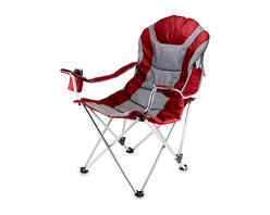 Picnic Time - Reclining Camp Chair - Dark Red - The Reclining Camp Chair is no ordinary camp chair. It features a folding steel frame that can hold up to 300 lbs., padded seat and back rest covered in durable 600D polyester canvas, 3 seating positions, adjustable armrests, an insulated drink holder in the right armrest, a large zippered pocket on back of chair, and a matching storage tote with carrying strap. The Reclining Camp Chair is great as a spectator chair at sporting events or for outdoor activities such as lounging by the lake or beach, camping and fishing. But consider yourself warned..once you sit in this chair, you may never want to leave it! Features :