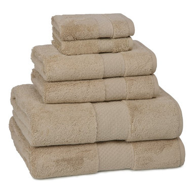 Kassatex - Kassatex Elegance Collection 6 pc. Set, Desert Sand - Calgon, take me away! The extra fluff and absorbency of this luxurious towel set will leave you daydreaming about your next shower all day long. Who knew cotton could be so seductive?