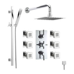 """Hudson Reed - Thermostatic Shower System With Chrome Rain Head Curved Arm Handspray & 6 Jets - The Hudson Reed Tec Thermostatic Triple Shower Valve (3 Outlet) features lever and cross head controls for fingertip control. Constructed from brass and with modern ceramic disc technology, this chrome finish minimalist shower valve supplies water to either the 8"""" shower head, a handset or 6 body jets."""