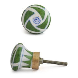 """Knobco - Patchwork Knob, Green Patchwork - Green Patchwork Cabinet Knob from Jaipur, India. Unique, hand painted cabinet knobs for your kitchen      cabinets. 1.5"""" in diameter. Includes screws for installation."""