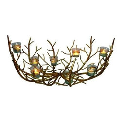 """Dr. Livingstone I Presume - Italian Gold Iron Twig Design Votive Holder by Dr. Livingstone I Presume - How is this for a tables cape center piece? Italian Gold iron twigs form a bowl-like nest that sits eight glass votive cups at varying heights. Perfectly sized to sit center stage and still be conducive to conversation. Try re-purposing, and place in a fire place or fire pit when not in use. Let your creative juices flow and add some seasonal touches at the appropriate times. (DLIP) 26"""" wide x 15"""" deep x 10"""" high"""