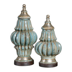 Uttermost - Fatima Sky Blue Decorative Urns, Set of 2 - Your next conversation could go like this: