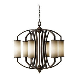 Feiss Lighting - 6- Light Single Tier Chandelier - Feiss Lighting F2564/6PCN  in Pecan