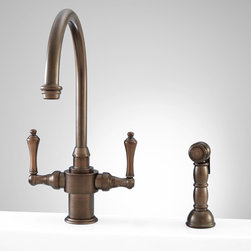 Aiken Single-Hole Kitchen Faucet with Side Spray - Expressive presentation is embodied in the Aiken Single-Hole Kitchen Faucet. Defined curvature makes this solid brass faucet an eye-catching addition.