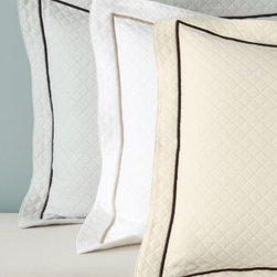 Garnet Hill - Garnet Hill Pima Cotton Matelasse Sham - Continental - White/Dune - This luxurious midweight matelasse coverlet is crafted from pure extra-long-staple pima cotton and finished with a border of contrast embroidery for a timelessly elegant look. Resort-quality bedding for the home. Coverlet has a wide hem and is designed to drape below the edge of the mattress; accommodates mattresses up to 15 in thick. Sham has matelasse front and back, and a wide flange.