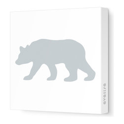 """Avalisa - Silhouette - Bear Stretched Wall Art, 12"""" x 12"""", Gray - """"Bear"""" walls? Start your own silhouette statement wall with this bear silhouette. Ready-to-hang stretched canvas wall art is a fun way to introduce animal shapes to future nature lovers."""