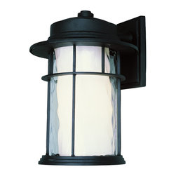 """Trans Globe Lighting - Trans Globe Lighting 5292 BK Opal Chimney 17"""" Wall Light Black Finish - Mission style double glass outdoor lanterns with clear watered outer glass and opal inner glass framed in single cross bar. Kerosene lantern inspired."""