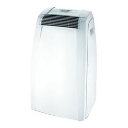Delonghi - 12,000 BTU Portable Air to Air - The DeLonghi PACC120E Pinguino C Series 12,000 BTU Portable Air Conditioner offers maximum comfort and energy savings for rooms up to 450 square feet. It cools and dehumidifies the air with quiet operation and low power consumption. The easy-to-Use electronic control panel includes a 24-Hour digital timer and digital thermostat. The intelligent remote control with LCD display allows you to operate the unit from across the room. The exclusive Condensate Recirculation system recycles the condensation within the machine for dripless, bucketless operation. Additional features include separate dehumidifying function, separate fan function and Eco-Friendly R410A refrigerant. This unit is easily portable with durable castor wheels and Side-Carry handles so you can use it where you need it, when you need it. The easy 5-minute set up requires no tools (window bracket and exhaust hose are included).Pinguino C Series 12,000 BTU portable air conditioner uses standard 115V electrical outlet.