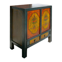 Golden Lotus - Tibetan Antique Fortune Lotus Umbrella Graphic Altar Table Side Cabinet - This Tibetan altar table is made of solid elm wood and hand painted with lotus and fortune umbrella graphic.This is gorgeous altar table and you can also use it as a unique TV stand.