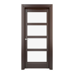 Solid Wood Interior Door – Color: Wenge; Model: W27gs, 35x80 - Doors are made of solid wood construction covered with textured laminate, Frames are produced using solid wood covered in laminate. Moldings are plywood covered in laminate.