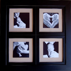MyBarnwoodFrames - Window Pane Collage Frame, 8x8 Openings, Black Distressed - Window pane collage picture frame with four 8x8 photo openings. Frame is solid wood, painted in black or your choice of custom colors. Glass and backing are included, and hardware is pre-attached to allow the frame to hang horizontally or vertically. Insert 4 of your favorite children's portraits, family groups, vacation photos, and more.  Hand-distressed edges are sanded lightly to give the frame added texture as it hangs on the wall.