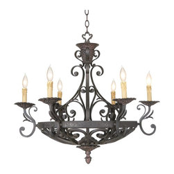 """Kathy Ireland - Country - Cottage Kathy Ireland La Romantica Chandelier - Use vintage chandeliers to bring a timeless look to your home. La Vida Buena styling from Kathy Ireland Home Gallery's Coleccion. This large candle chandelier makes a charming focal point for kitchens and seating areas. Spanish style with a dark rusted iron finish. Body features swirls and a distressed hammered look. Takes six 60 watt candelabra bulbs (not included). 32 1/2"""" wide. 28 1/4"""" high. 5 1/4"""" wide canopy. Includes 6 feet of chain. Hang weight of 30 1/2 lbs.  Black iron finish.  Takes six 60 watt candelabra bulbs (not included).  32 1/2"""" wide.   28 1/4"""" high.   5 1/4"""" wide canopy.   Includes 6 feet of chain.   Hang weight of 30 1/2 lbs."""