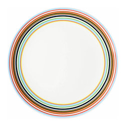 Iittala - Origo Salad Plate Orange - Give your greens a festive flair with these striped ceramic salad plates. The preppy colors are a cheerful departure from plain white dinnerware and will surely enhance your table. And when the meal is done, simply place these in the dishwasher for easy cleanup.