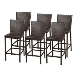 TKC - 6 Classic Barstools w/ Back - Simple, affordable and beautiful, the barstool is all about sharp lines, and beautiful sleek design. This barstool proves that being minimal can still be engaging, comfortable, and beautiful in a patio furniture setting.