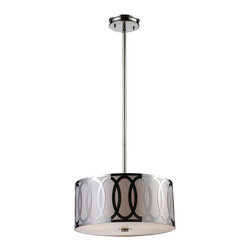 """Elk Lighting - Elk Lighting Anastasia Modern / Contemporary Drum Pendant Light X-3/37101 - The beautiful, chic metalwork featured on this drum pendant light by Elk Lighting is finished in polished nickel, adding a sleek, contemporary color to the fixture. The ovals are created from a single sheet of steel and are silhouetted by a silver fabric diffuser, which provides a brilliant quality of widespread ambient lighting. (1) 6"""" & (2) 12"""" extension rods with hang straight included."""