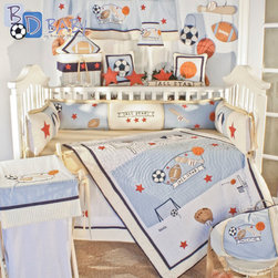 Brandee Danielle - All Star 18 Piece Crib Bedding Set - Features: -18 piece crib bedding set. -Complete with beautiful embroidery, plush creme chenille, blue and white pen striped seersucker, and cotton chambray. -Set includes: crib quilt, bumper, skirt, (2) sheets, diaper stacker, toybag, lampshade, (3) zippered sports pillow covers (basketball, soccer ball and football), (4) sports wall art decor wall hangings (football, soccer ball, basketball, baseball & bat), (2) wicker basket sports liners, and decorative window valance.