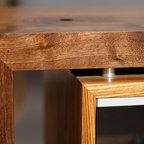 Walnut and Zebra wood media console -