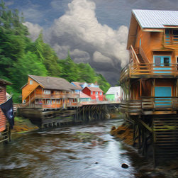 'Ketchikan Alaska' A Digital Painting by Dennis Granzow, 10x8 - Image comes unframed. See framed sample below photo.