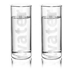 Tag - Classic Double Wall Water Glass - Set of 2, Clear by Tag - Our Classic double wall water glass with sleek Scandinavian styling. Double-wall borosilicate glass insulates the hand from ice cold water, and helps keep your favorite beverages chilled. Perfect gift for anyone who stays hydrated with a full day's portion of cool, clean, clear water! Clever, fun bridal gift.