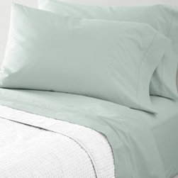Garnet Hill - Garnet Hill Hemstitched Supima Percale Sheets - California King - Fitted - Aqua - Heirloom-inspired in every way and woven of pure Supima cotton combed to remove all but the finest long-staple fibers, this 300 thread count cotton bedding possesses the soft yet crisp hand craved by enthusiasts of classic percale. The flat sheet, cases and bedskirt are embellished with timeless hemstitch details. The fitted sheet is fully elasticized for a better fit (deep-pocket Queen, King and California King sizes will fit mattresses up to 15 inches deep).