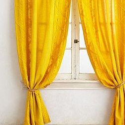 """Anthropologie - Appliqued Lace Curtain - Sold individuallyTunnel tab constructionLinen, cottonMachine wash50""""WImported"""